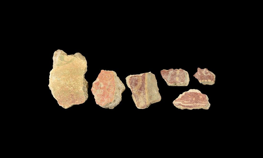 Roman Polychrome Fresco Fragment Group