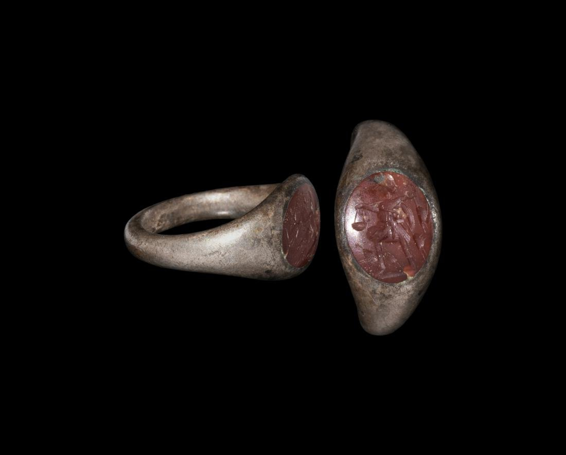 Roman Ring with Hunter and Hares Intaglio