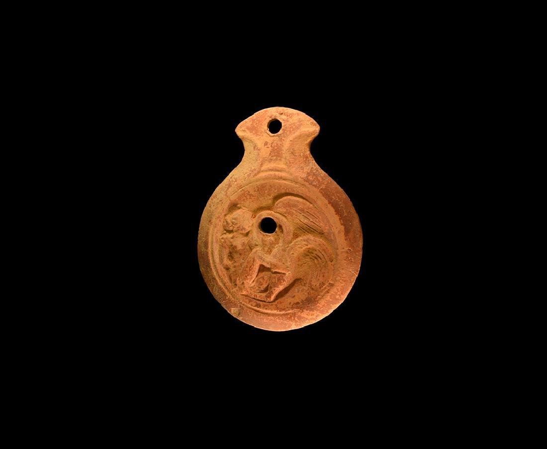 Roman Erotic Oil Lamp with Leda and Swan