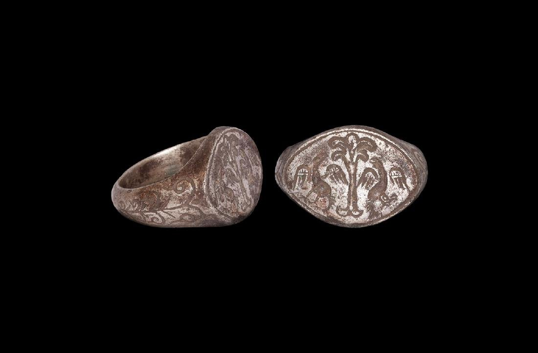 Byzantine Silver Ring with Birds