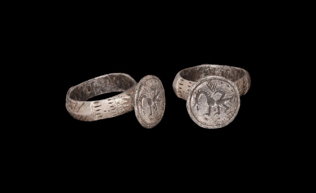 Byzantine Silver Ring with Dragon