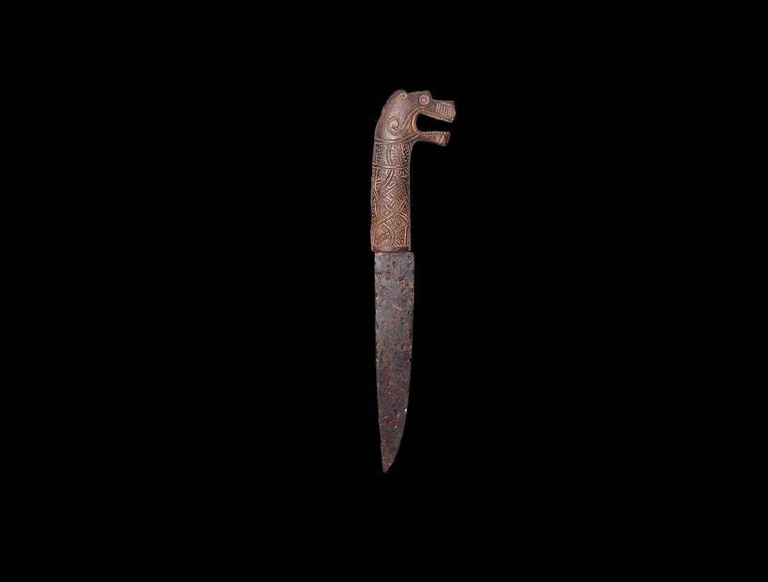 Viking Knife with Wolf's-Head Handle
