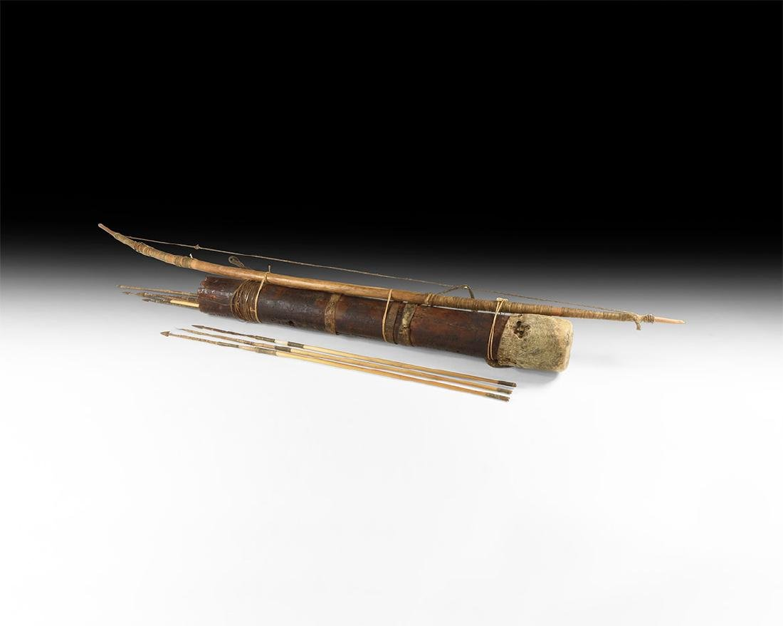 East African Tribal Bow and Quiver with Arrows