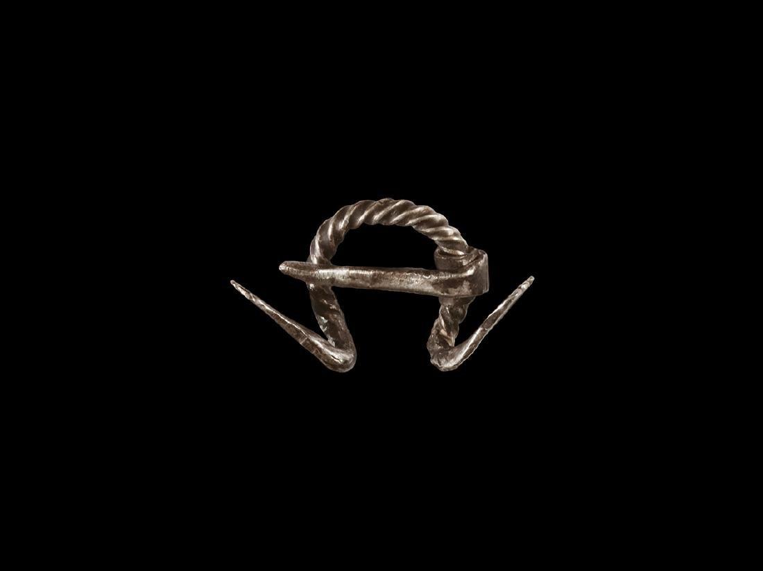 Viking Silver Dragon-Headed Brooch