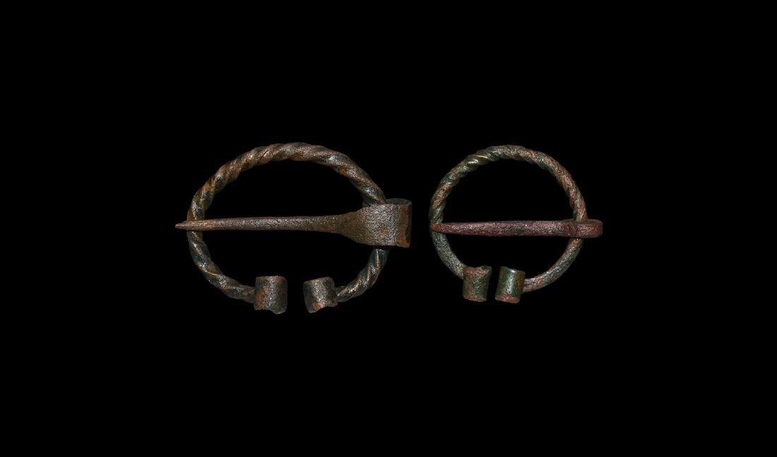 Viking Twisted Penannular Brooch Pair