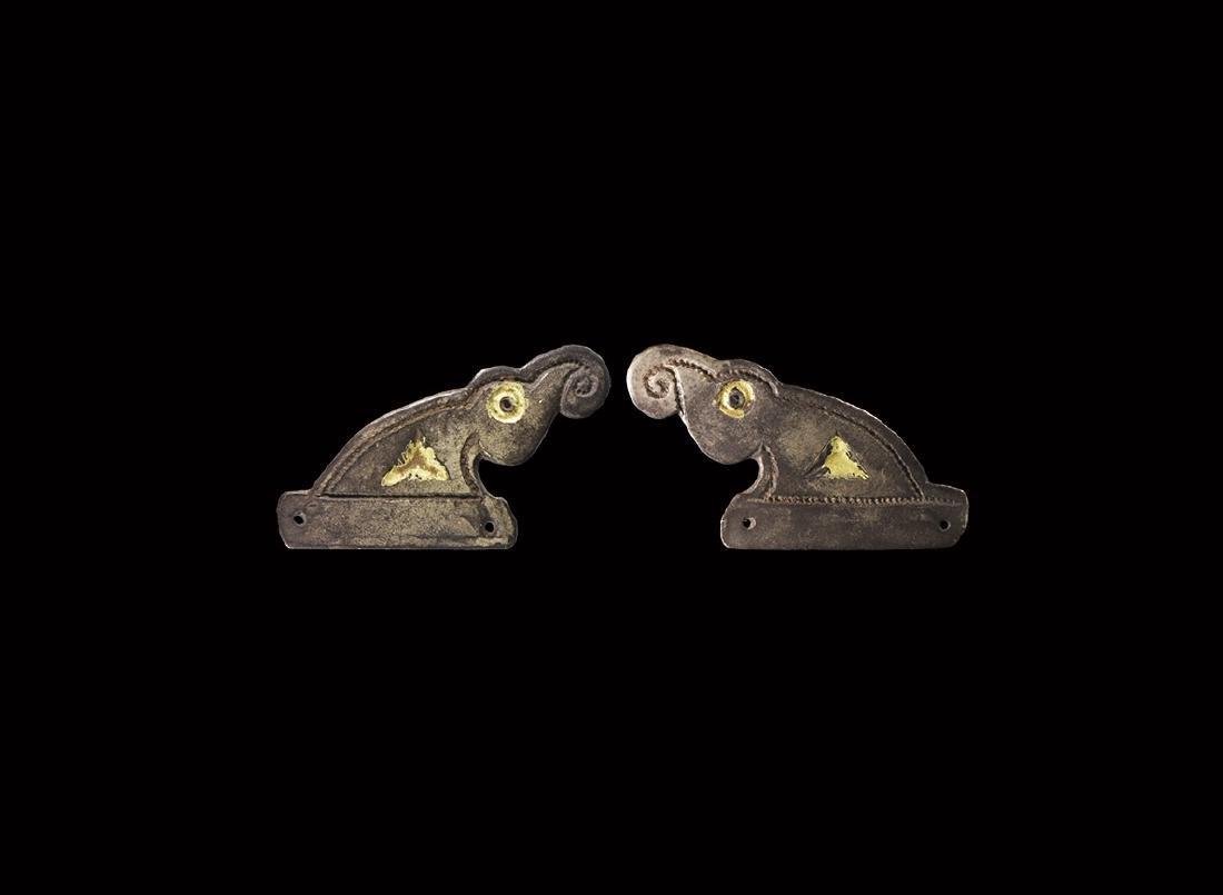 Pre-Viking Gilt Silver Harp Mount Pair