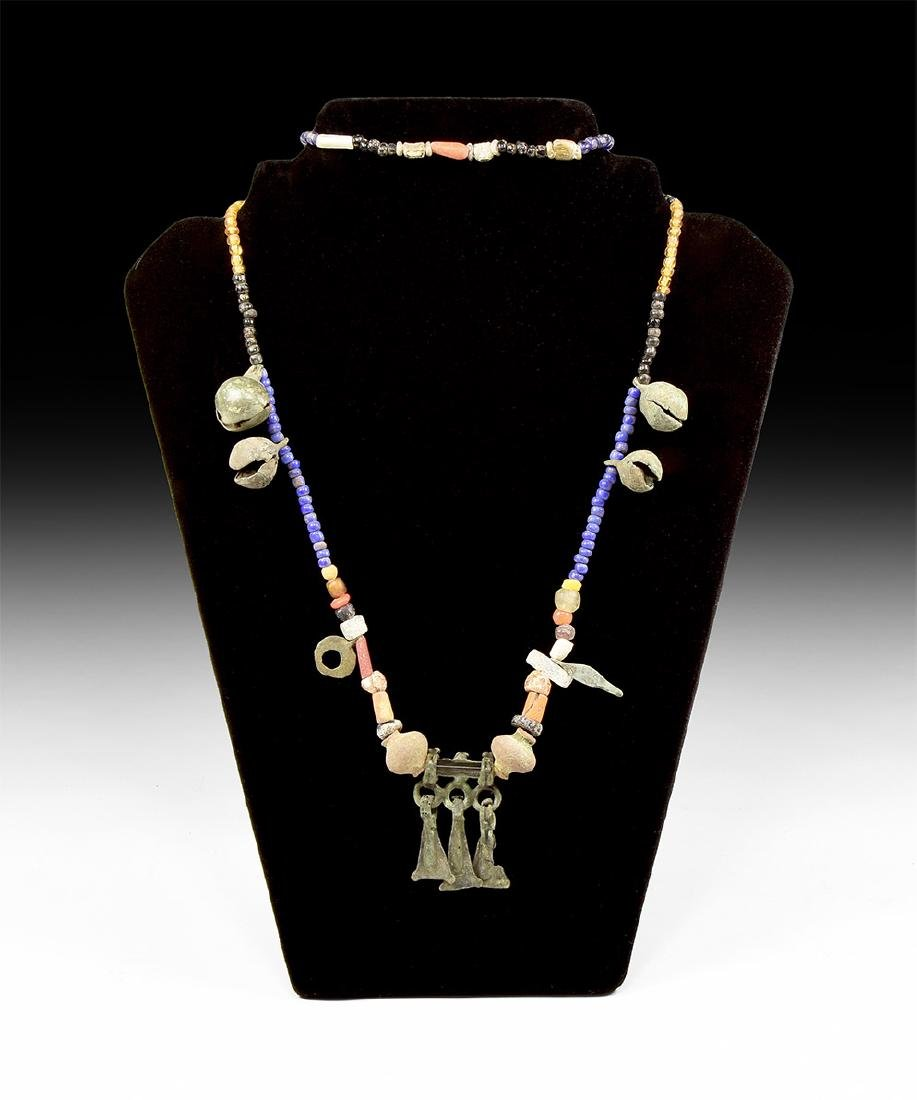 Viking Bead Necklace with Pendants & Bells