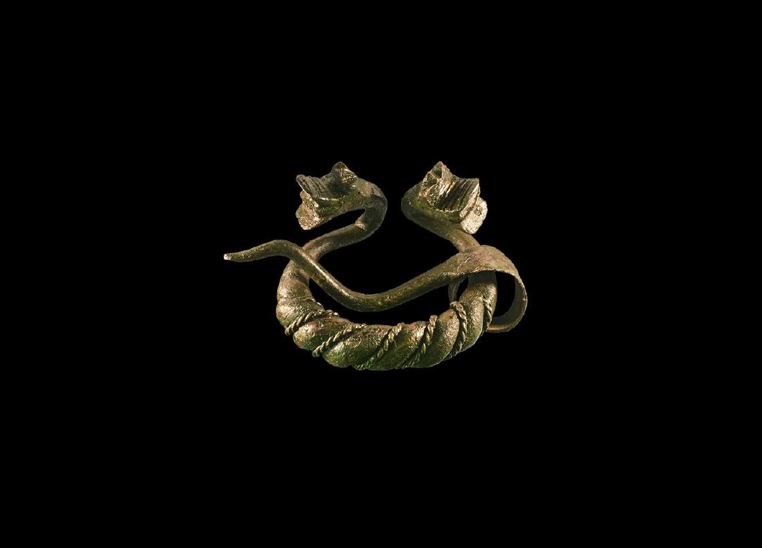 Viking Twisted Penannular Brooch with Dragons