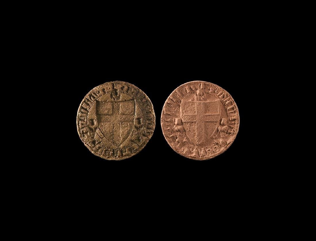 Medieval Heraldic Seal Matrix with Rosettes