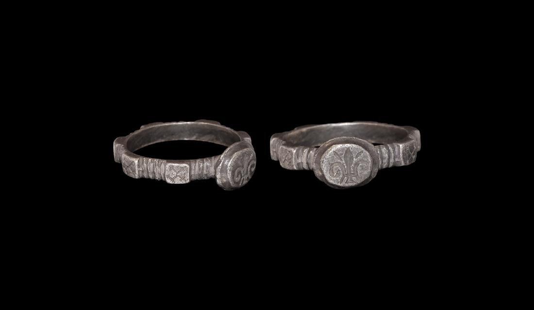 Medieval Silver Ring with Fleur-de-Lys