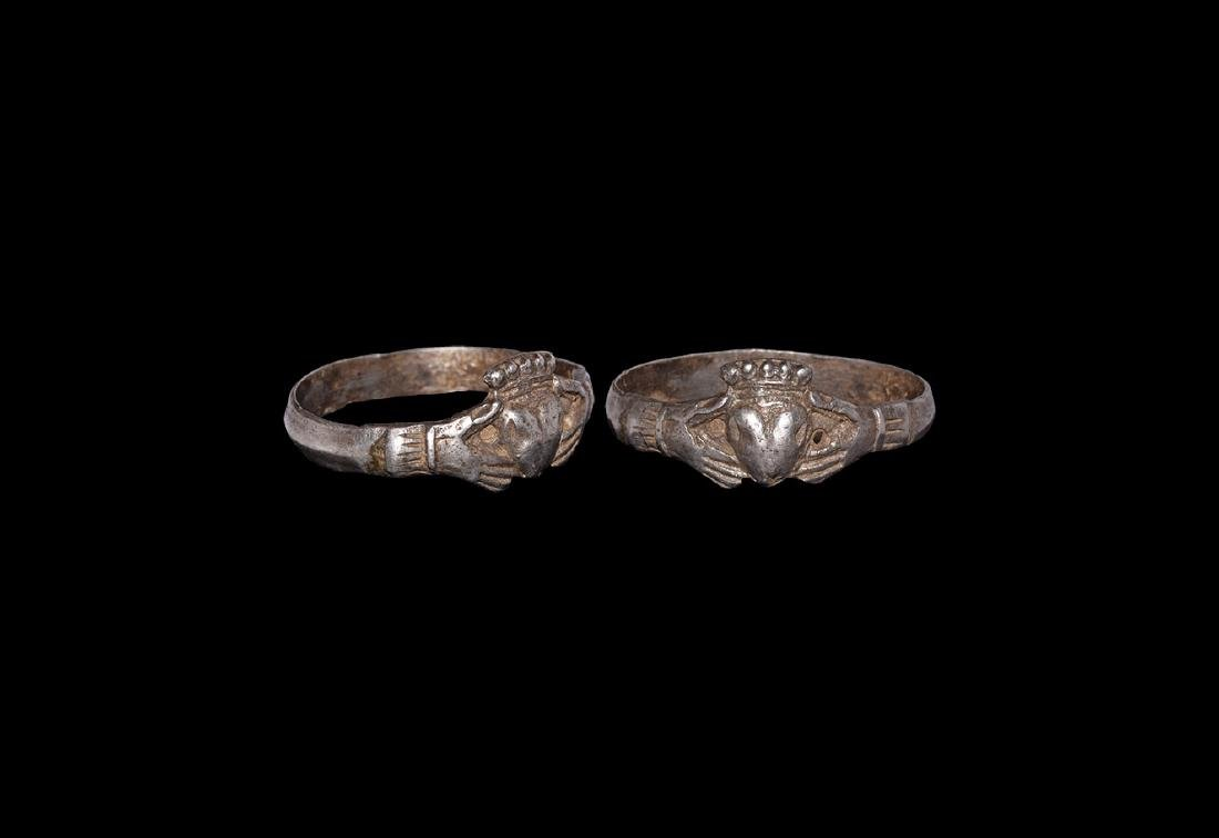 Silver Clasped Hands and Heart Ring