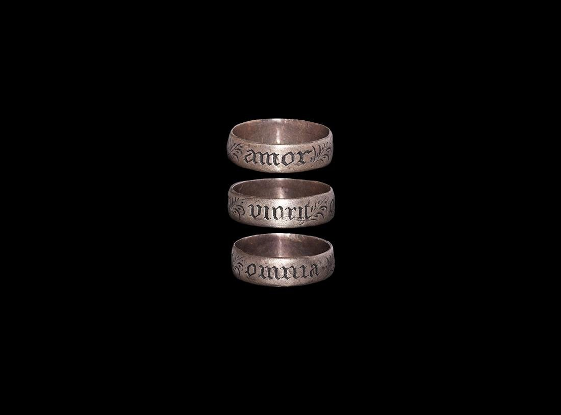 Tudor 'Love Conquers All' Silver Posey Ring