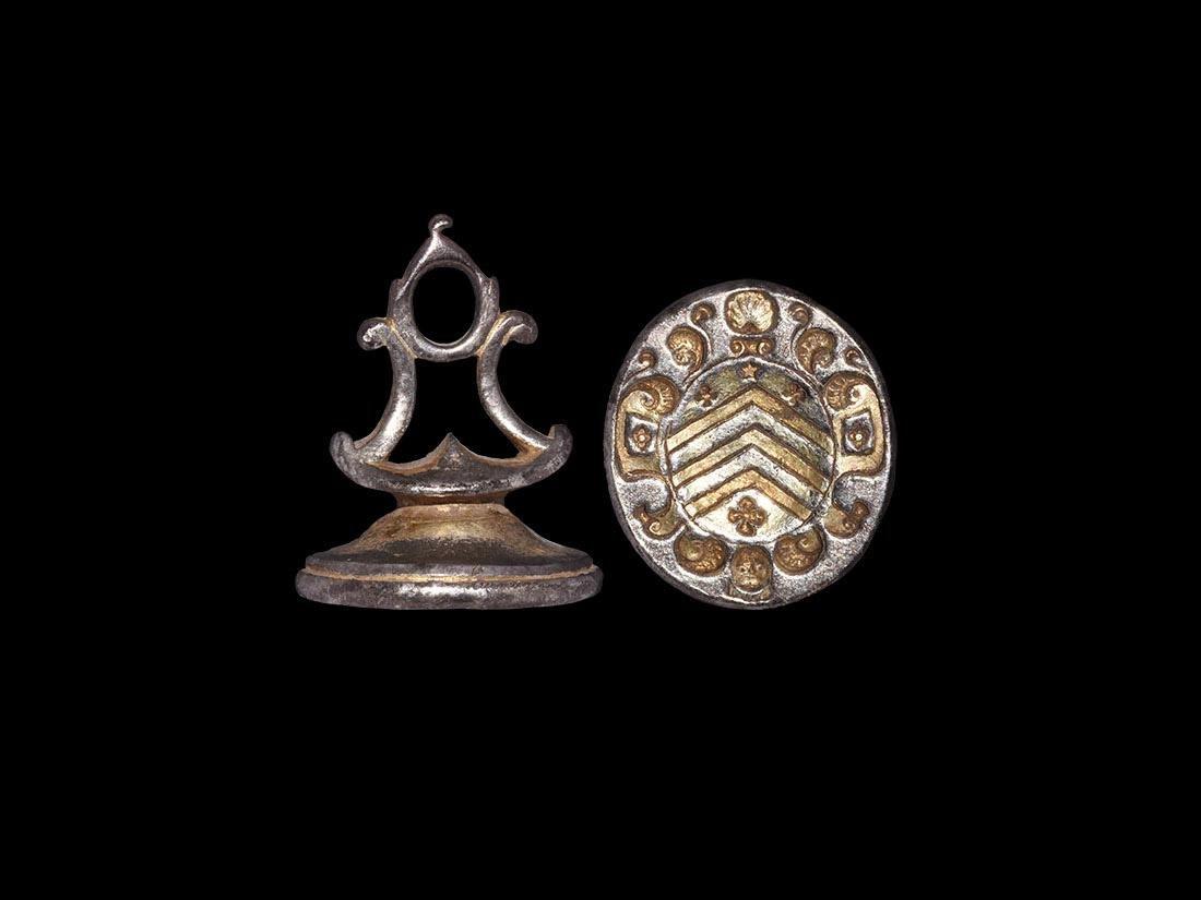 Post Medieval Gilt Heraldic Shield Seal Matrix