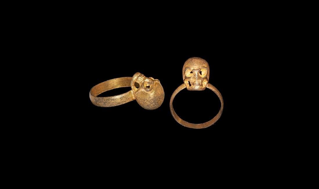 Post Medieval Silver-Gilt Skull Ring