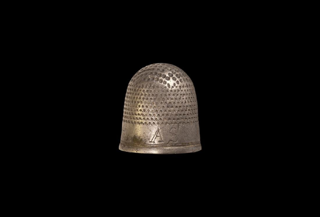 Post Medieval Jacobean Silver Thimble with AS