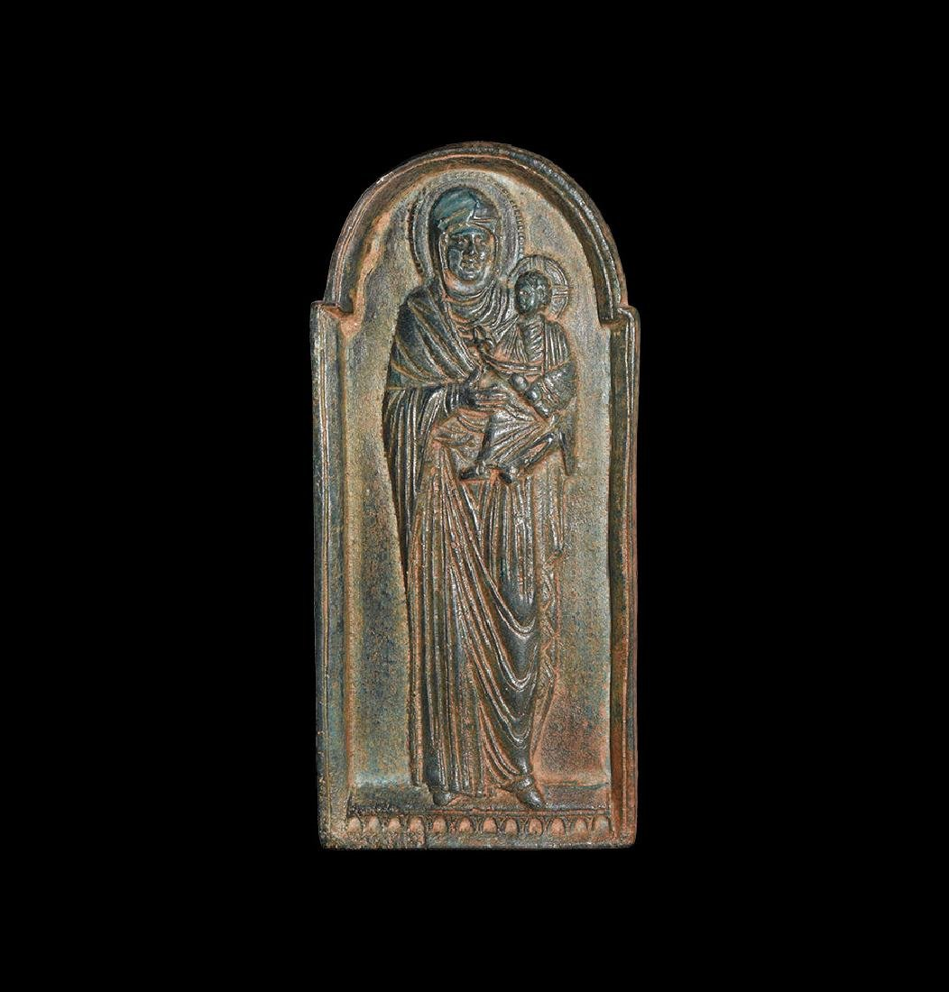 Post Medieval Mary and Child Icon Panel