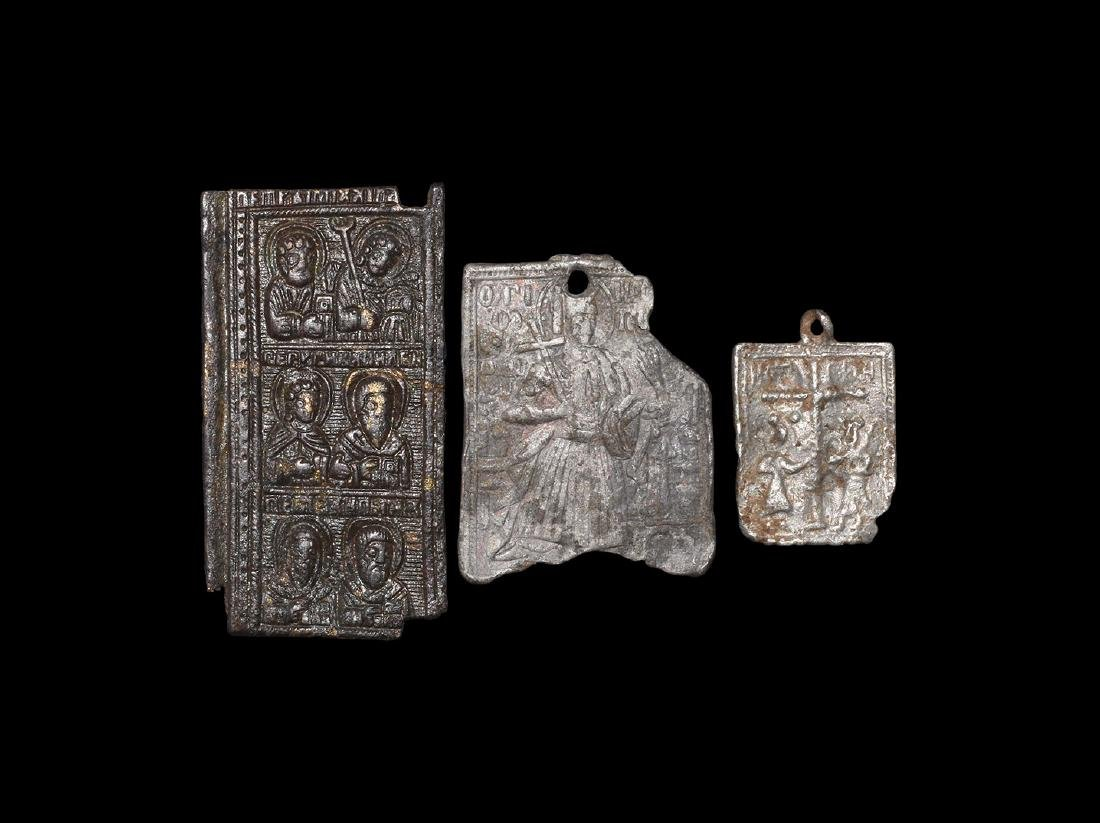 Post Medieval Plaque with Saints Group