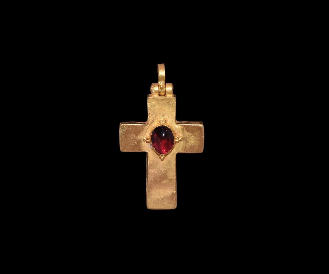 Post Medieval Gold Cross with Garnet