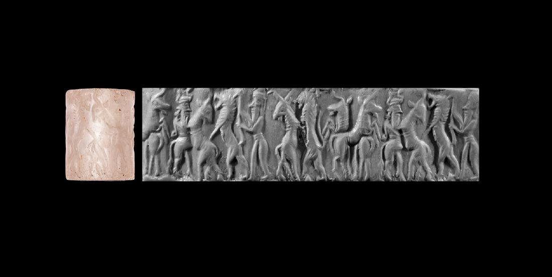 Old Akkadian Cylinder Seal with Contest Scene