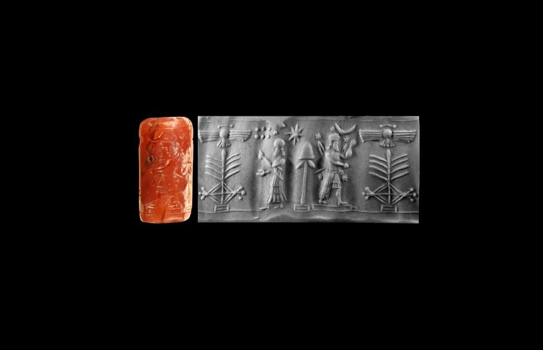 Neo Assyrian Cylinder Seal with Sacred Tree