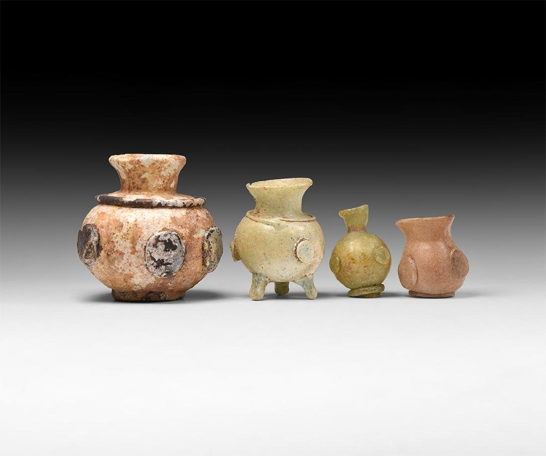 Sassanian Glass Vessel with Plaques Group