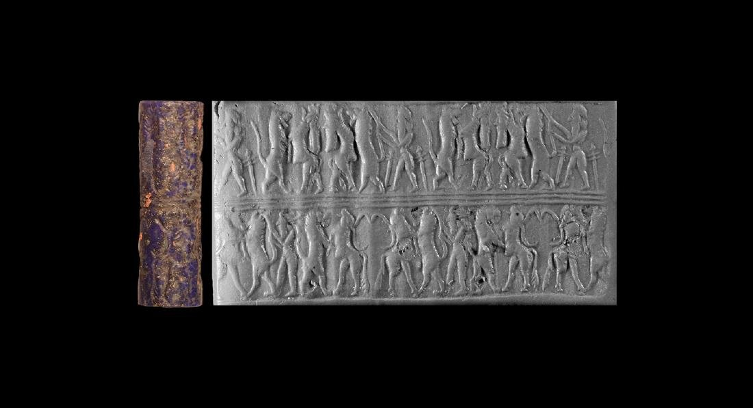 Old Akkadian Cylinder Seal with Contest Scenes