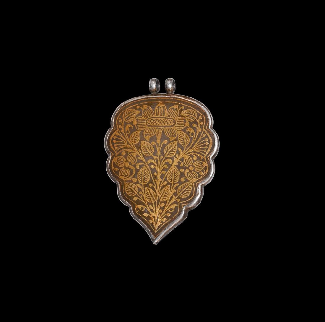 Indian Gold Inlaid Silver Floral Pendant