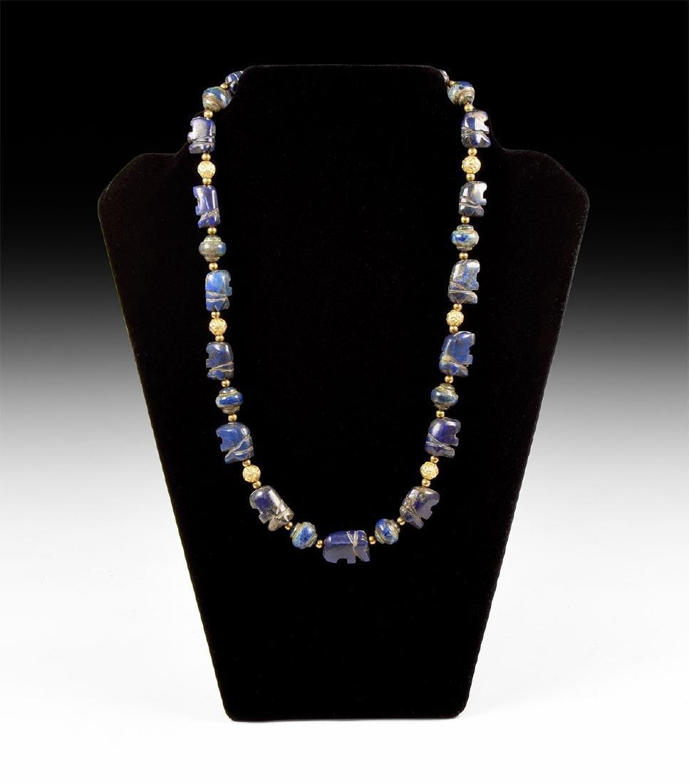 Lapis Lazuli Elephant Bead Necklace