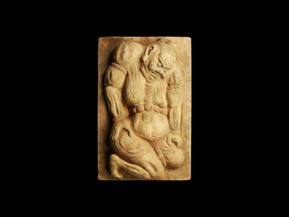 Chinese Song Tile with Nio Guardian Deity
