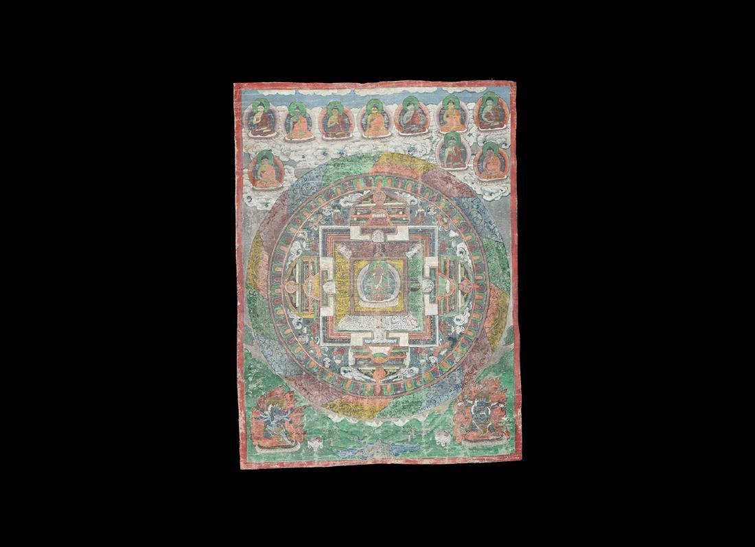 Tibetan Thanka Painting with Bodhisattvas