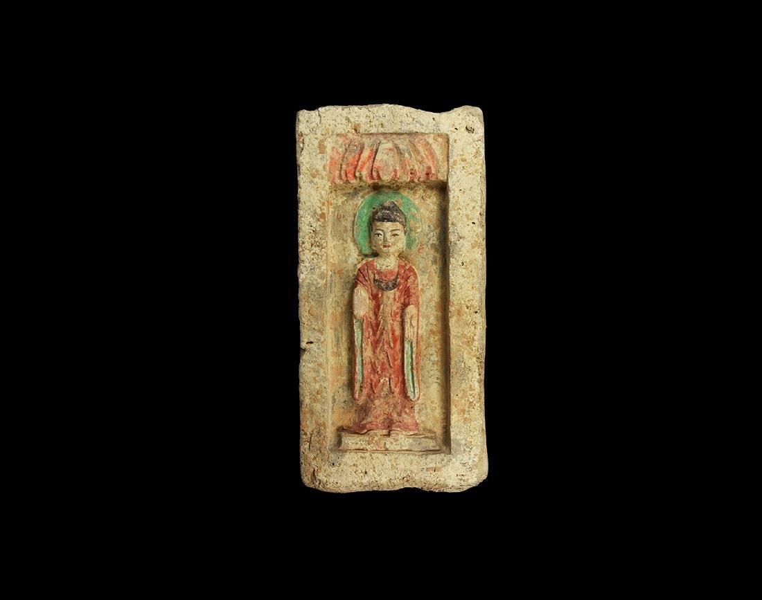Chinese Northern Wei Painted Buddha Brick