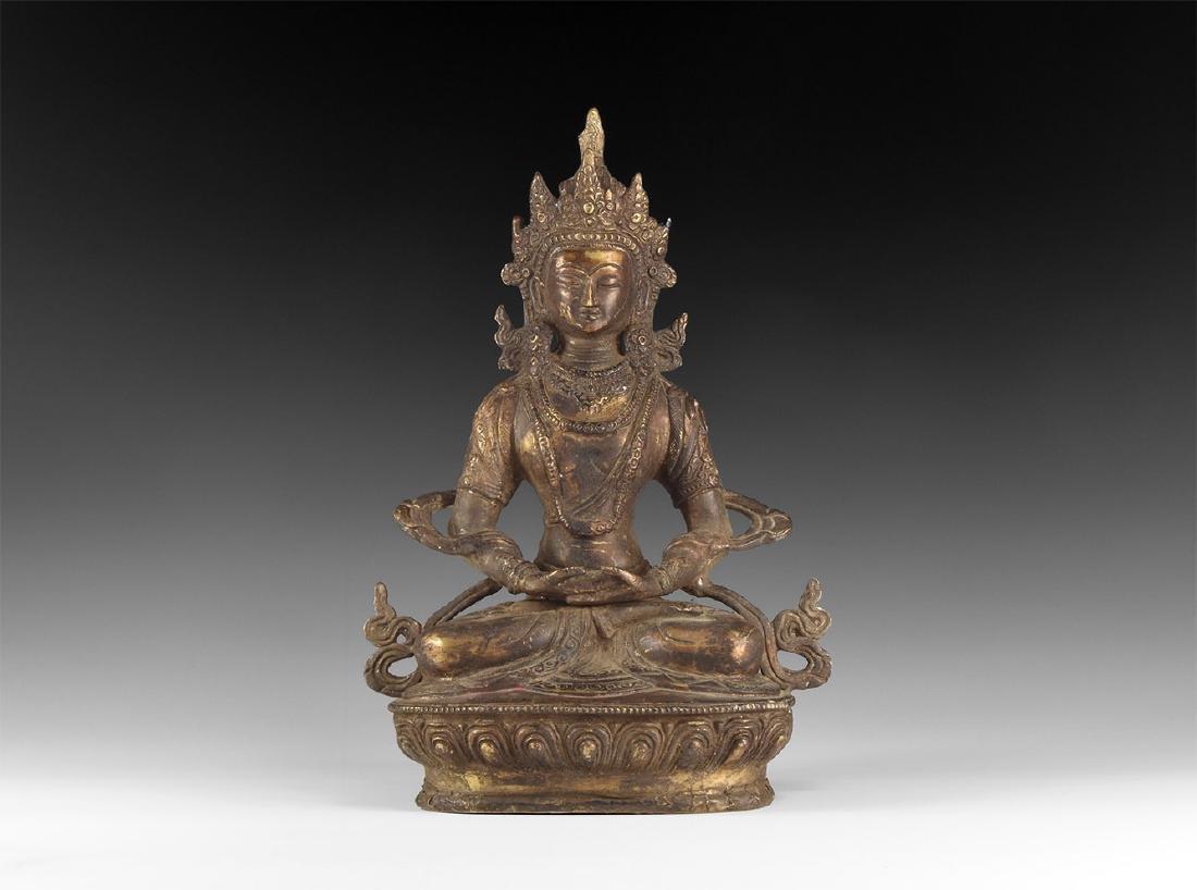 Tibetan Gilt Meditating Buddha Figure