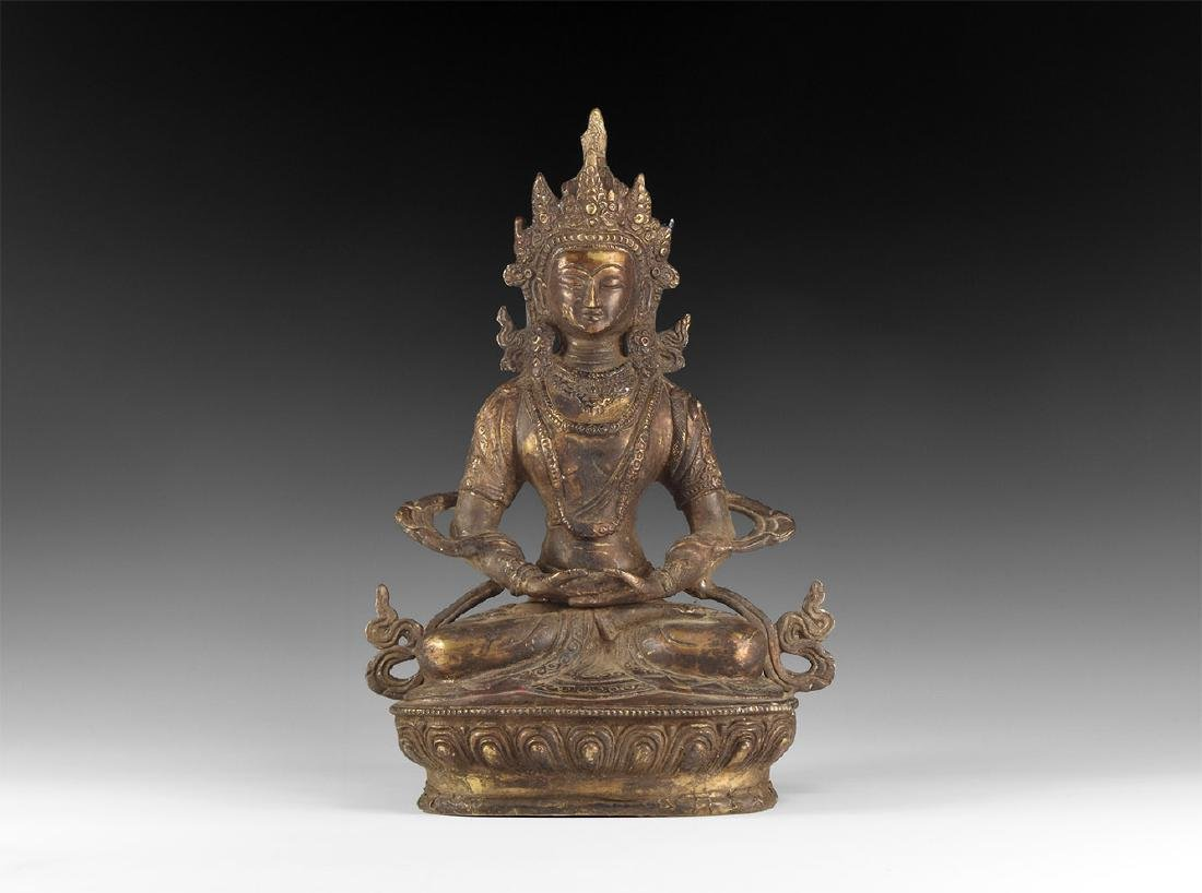 Tibetan Gilt Meditating Buddha Figure