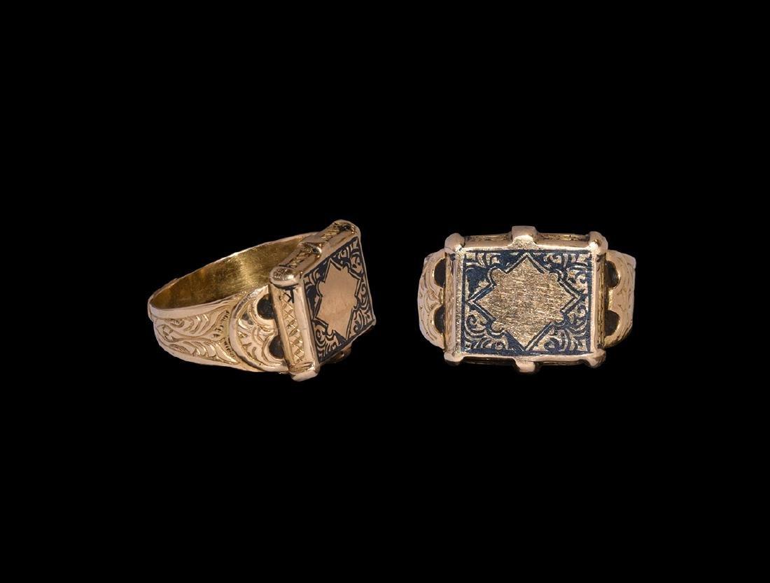 Islamic Gold Niello-Inlaid Ring