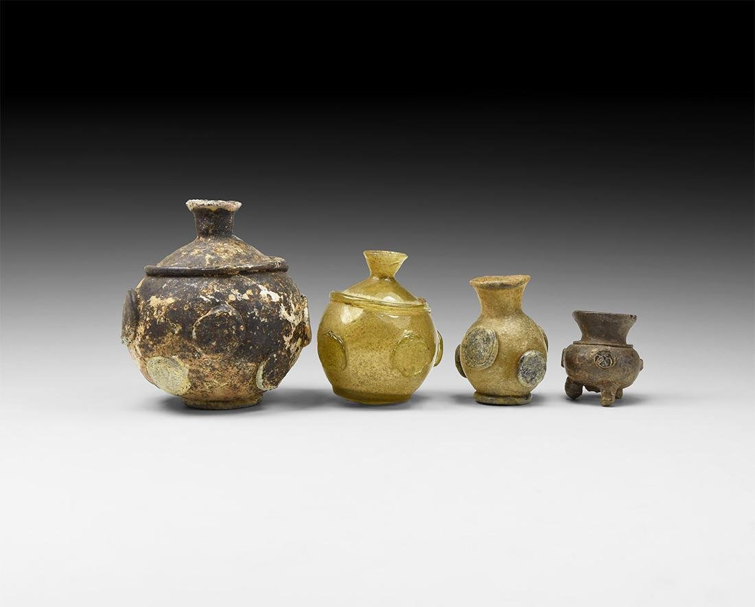 Islamic Glass Vessel with Plaques Group