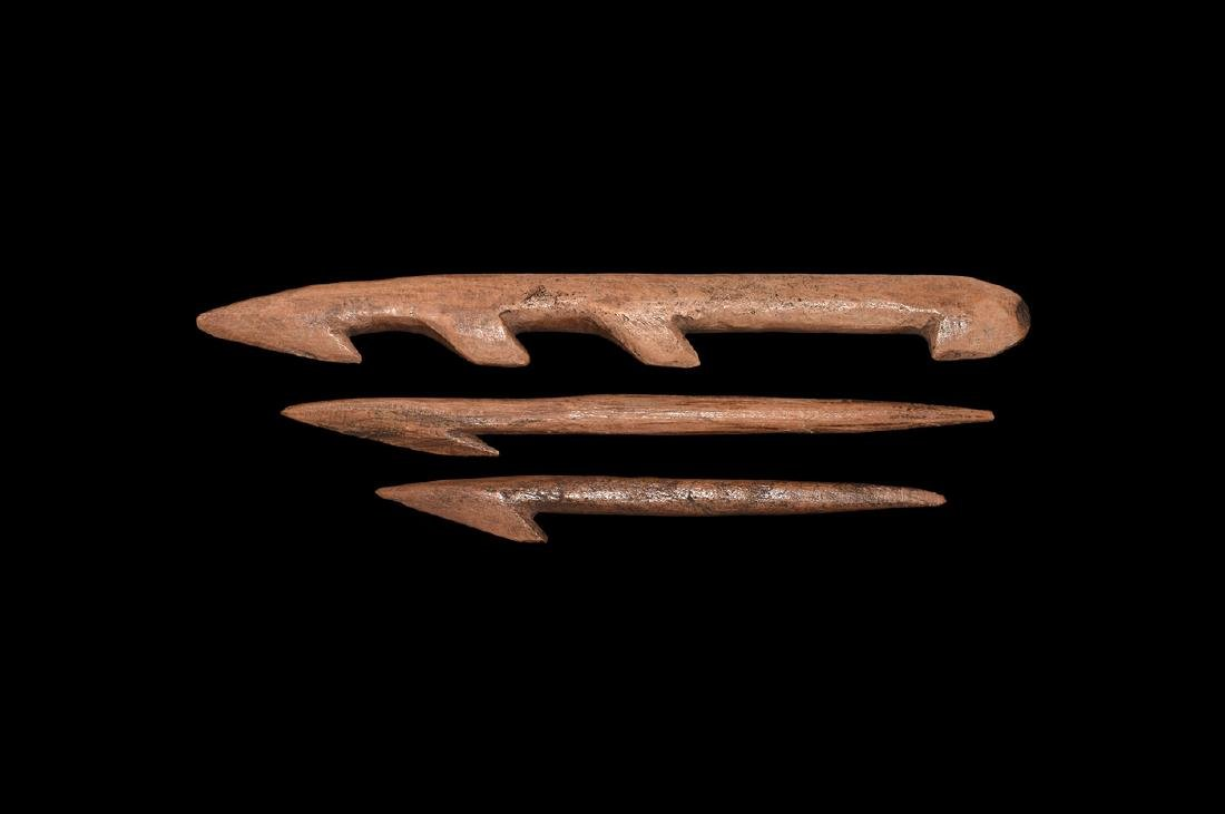 Stone Age Bone Harpoon Point Group