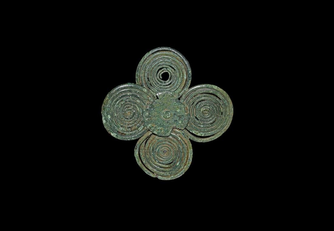Bronze Age Miniature Four-Spiral Plate Brooch