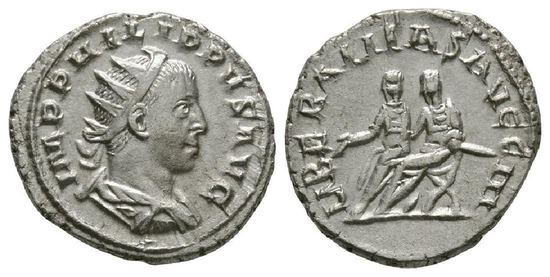 Phillip II - Phillip I and II Seated Antoninianus
