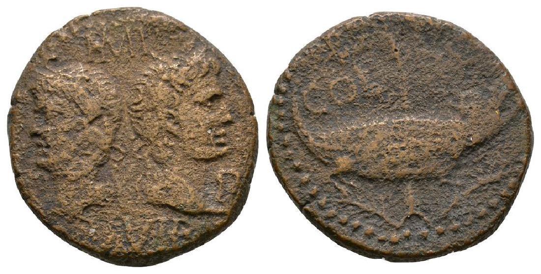 Augustus and Agrippa - Crocodile Dupondius
