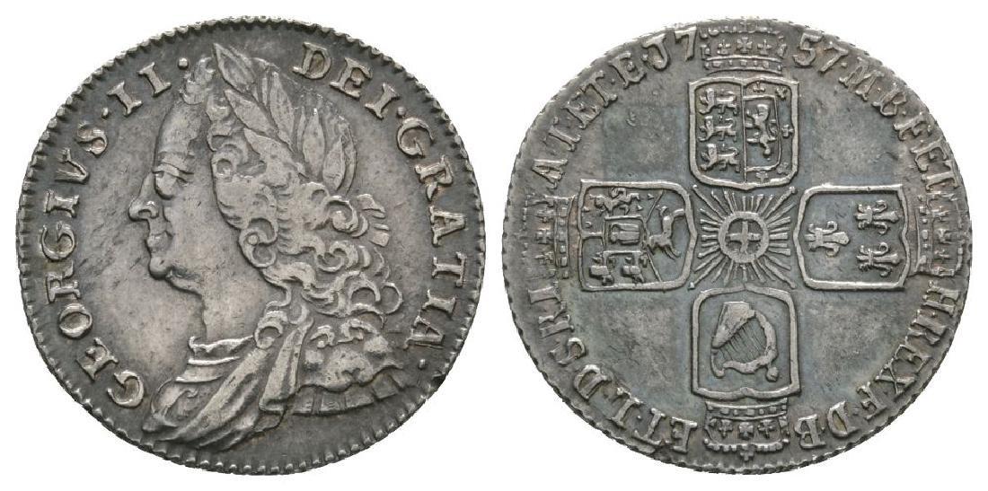 George II - 1757 - Sixpence