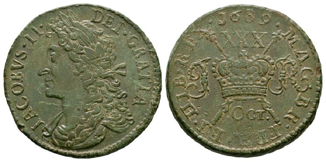 Ireland - James II - Oct 1689 - Gunmoney 2/6