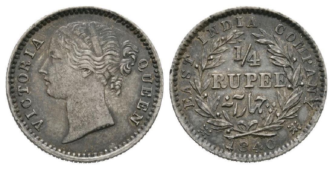 India - Victoria - EIC - 1840 Madras - 1/4 Rupee