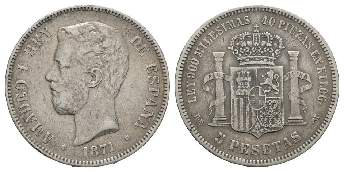 World Coins - Spain - 1871 (74) - 5 Pesetas