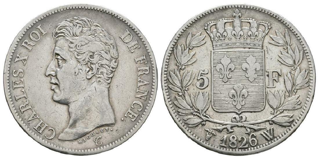 France - Charles X - 1826 W - 5 Francs