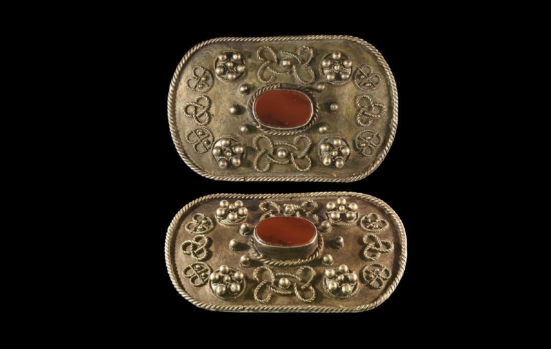 Central Asia Filigree Brooch w/ Carnelian Intaglio
