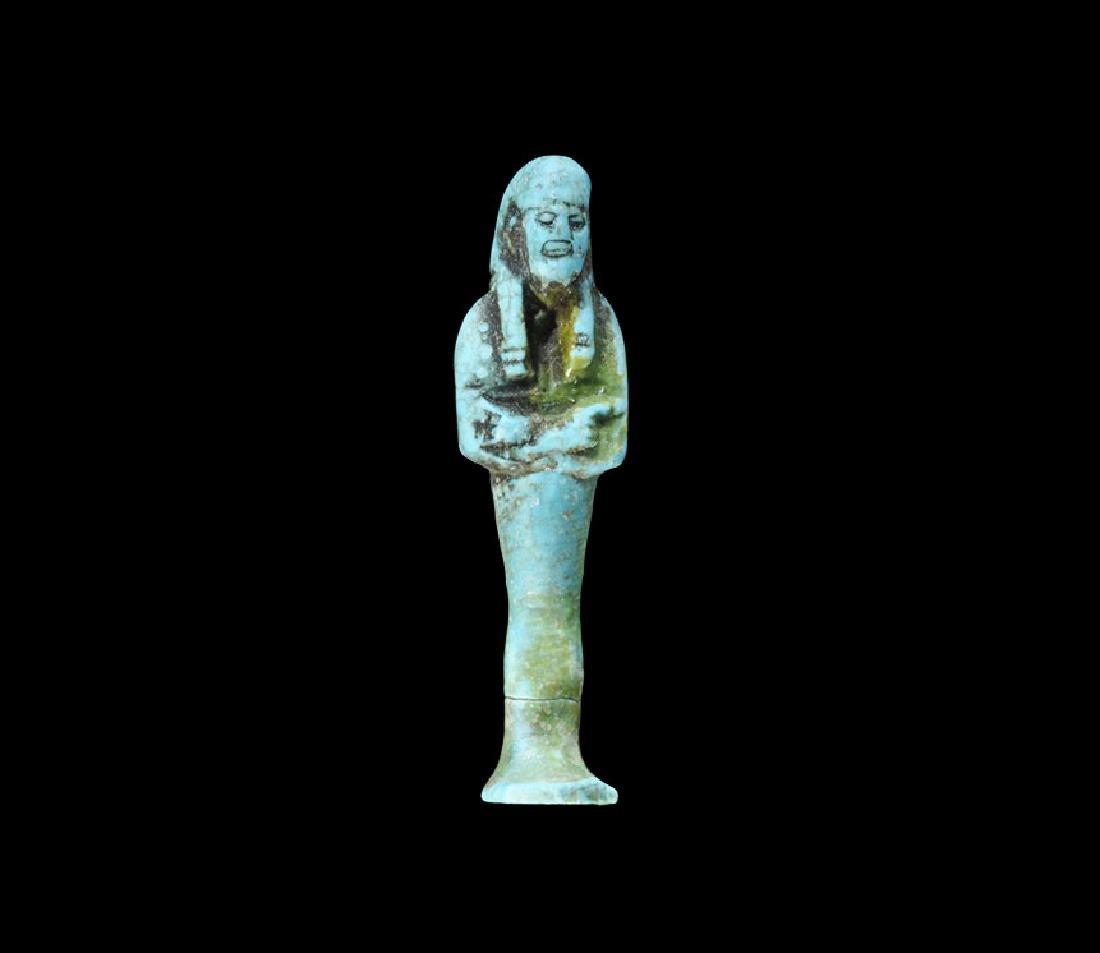 Egyptian Blue Glazed Mummy Amulet.