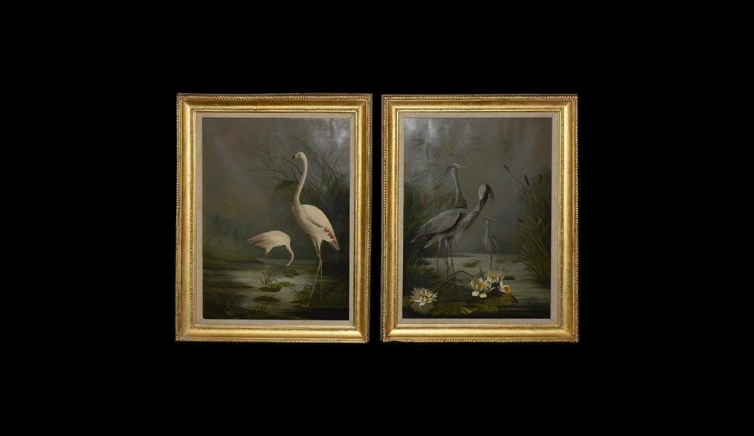 Flamingos and Blue Cranes Framed Pictures Pair.