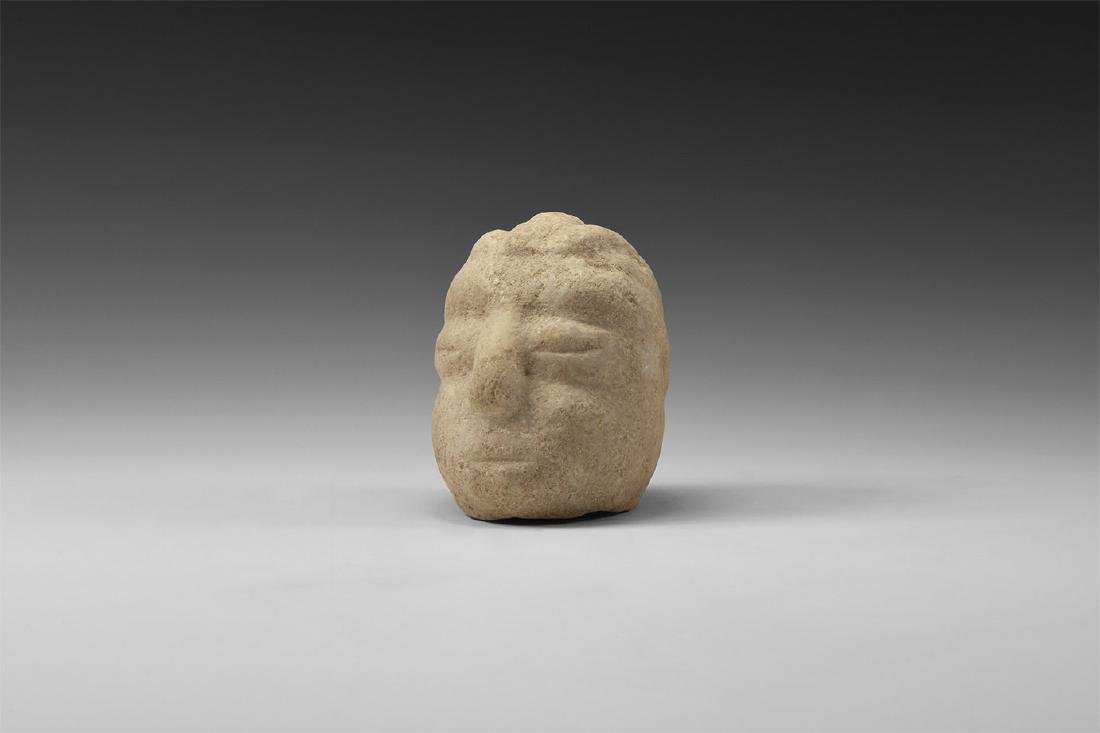 Pre Columbian Diquis Carved Marble Head