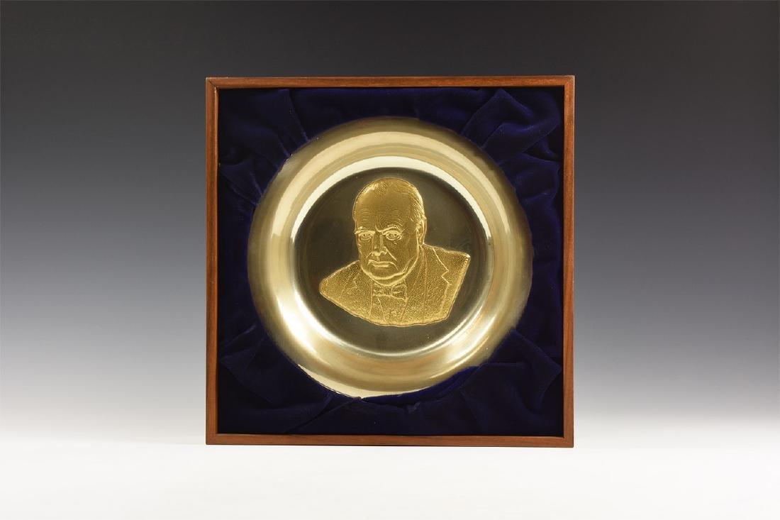 Vintage Winston Churchill Framed Plate