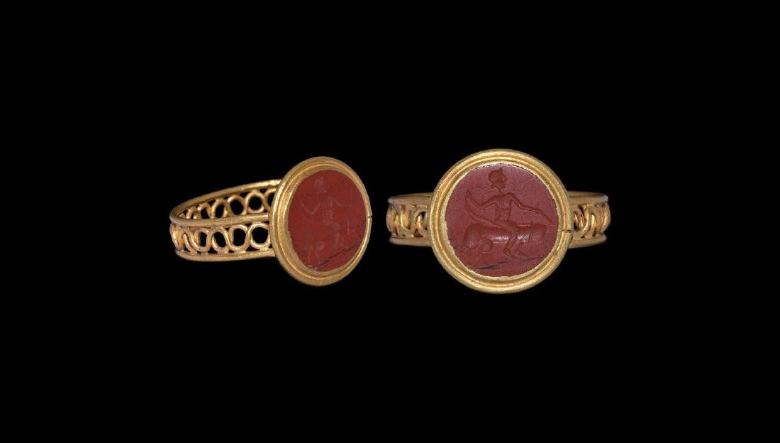 Roman Style Gold Ring with Phallus Intaglio.